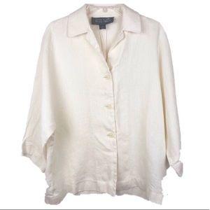 Linda Allard/Ellen Tracy 100% Linen Blouse Size 8